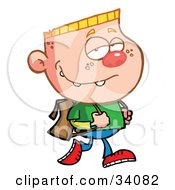 Clipart Illustration Of A Pleasant Blond Haired School Boy Tugging His Backpack Straps While Walking To School
