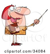 Clipart Illustration Of A Happy Red Haired Teacher In Glasses Holding A Book And Using A Pointer Stick by Hit Toon
