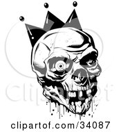 Clipart Illustration Of A Bloody Joker Skull With Missing Teeth And One Eyeball