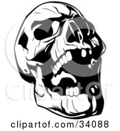Clipart Illustration Of An Evil Skull Tilting Its Head Back And Laughing