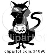 Clipart Illustration Of A Black Cat Sitting And Carrying A Pumpkin Basket Full Of Candy Corn In Its Mouth On Halloween