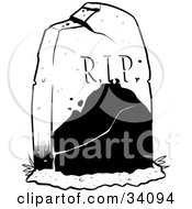 Clipart Illustration Of A Broken And Cracked Tombstone In A Cemetery
