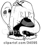 Clipart Illustration Of A Spooked Ghost Peeking From Behind A Tombstone In A Cemetery by Lawrence Christmas Illustration #COLLC34095-0086