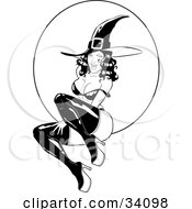 Clipart Illustration Of A Sexy Flirty Young Witch In Tall Boots And A Pointy Hat Her Bra Strap Over Her Shoulder Sitting In Front Of A Full Moon