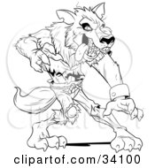 Clipart Illustration Of A Ferocious Wolfman In Ripped Clothes Standing In A Defensive Stance by Lawrence Christmas Illustration #COLLC34100-0086