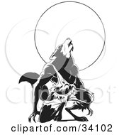 Clipart Illustration Of A Howling Wolfman In Torn Clothes Kneeling In Front Of A Full Moon