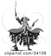 Skeleton Pirate Raising Hell One Foot Up On A Rock Holding A Sword And Pistil