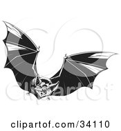 Clipart Illustration Of An Evil Vampire Bat In Flight Flapping Its Wings And Flying Forward