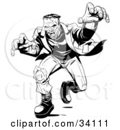 Clipart Illustration Of Angry Frankenstein Lunging Forward To Attack His Massive Hands Extended Towards The Viewer by Lawrence Christmas Illustration #COLLC34111-0086