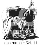 Clipart Illustration Of A Scary Zombie Corpse Rising From The Grave In A Cemetery by Lawrence Christmas Illustration #COLLC34114-0086
