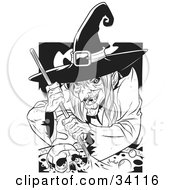 Clipart Illustration Of An Ugly Warty Witch Grinning While Stirring A Skull And Potion In A Spell Cauldron