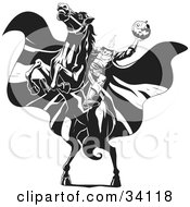 Clipart Illustration Of The Headless Horseman On A Rearing Horse Holding Up A Jack O Lantern As His Cape Blows In The Wind
