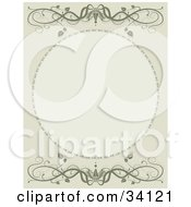 Clipart Illustration Of A Green Scroll Background With A Blank Oval Space And Scrolling Vines
