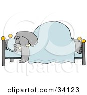 Clipart Illustration Of A Tired Elephant Snoozing Soundly Under A Blanket On A Bed His Head On A Pillow