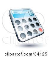 Clipart Illustration Of A Compact Calculator With Rounded Buttons