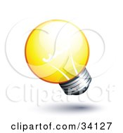 Clipart Illustration Of A Short And Round Yellow Lightbulb Shining Brightly