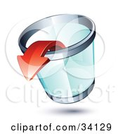 Clipart Illustration Of A Red Arrow Pointing Out Of A Transparent Chrome Rimmed Trash Can