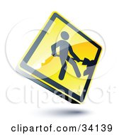 Clipart Illustration Of A Shiny 3d Construction Sign With A Digger