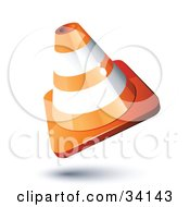 Clipart Illustration Of A Tilted Orange And White Ringed Construction Cone