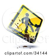 Splatter Of Mud On A Shiny 3d Construction Sign With A Digger