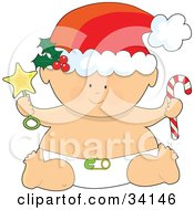 Christmas Baby In A Santa Hat And Diaper Holding A Star Rattle And A Candy Cane