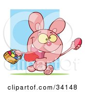 Clipart Illustration Of An Energetic Pink Bunny Running With Its Tongue Hanging Out Holding Up An Easter Egg And Carrying A Basket by Hit Toon