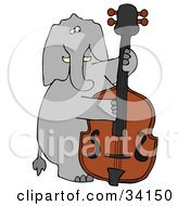 Musical Elephant Playing A Double Bass