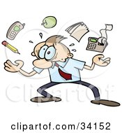 Clipart Illustration Of A Overwhelmed Caucasian Businessman Juggling A Pencil Cell Phone Apple Notepad And Calculator Trying To Handle All Of His Responsibilities by gnurf #COLLC34152-0050