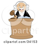 Clipart Illustration Of A Stern Male Judge In A White Wig Standing Behind A Podium And Banging His Gavel During Court