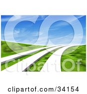 Clipart Illustration Of Three White Paths Leading Across A Grassy Green 3d Landscape Under A Blue Sky With Wispy Clouds
