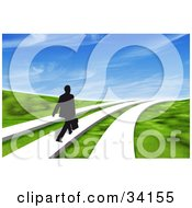 Clipart Illustration Of A Black Silhouetted Businessman Walking One Of Three Paths Through A 3d Grassy Landscape Under A Blue Sky