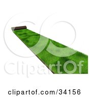 Clipart Illustration Of A Roll Of Green 3d Sod Being Spread Over A White Background by Frog974 #COLLC34156-0066