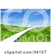 Clipart Illustration Of A Single White Path Leading Forward Across A Grassy Green 3d Landscape Under A Blue Sky With Wispy Clouds by Frog974 #COLLC34157-0066