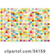 Clipart Illustration Of A Psychedelic Background Of Colorful Squares