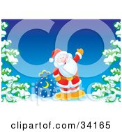 Clipart Illustration Of Santa On A Hill With A Toy Sack Waving