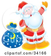 Clipart Illustration Of Santa Giving A Friendly Wave And Standing With A Toy Sack