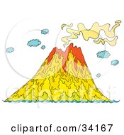 Smoking Volcanic Island With Lava Emerging From The Mountain