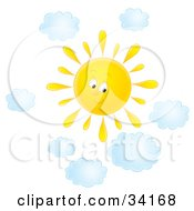 Clipart Illustration Of A Cute Summer Sun Shining In A Cloudy Sky On A Nice Day