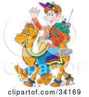 Clipart Illustration Of A Friendly Male Tourist With His Gear Waving And Riding On The Back Of A Camel