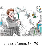 Clipart Illustration Of A Controlling Male Boss Catching His Fly Employees In A Net