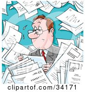 Clipart Illustration Of An Overwhelmed And Sweaty Businessman Surrounded By Memos Paperwork Or Employment Applications by Alex Bannykh