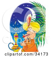 Clipart Illustration Of A Male Tourist Smoking A Hookah Water Pipe On An Egyptian Night by Alex Bannykh