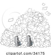 Clipart Illustration Of A Businessmans Feet Poking Out From Under A Stack Of Paperwork On A White Background