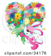 Clipart Illustration Of An Adorable Pink Bunny Rabbit Carrying A Large Heart Shaped Floral Bouquet