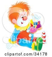 Cute Red Haired Clown Holding Up One Of His Shoes And Sitting On The Floor