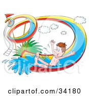 Clipart Illustration Of A Happy Man Holding His Arms Out And Riding Down A Twisty Water Slide