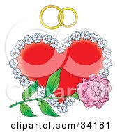 Single Pink Rose Over A Floral Red Heart With Two Wedding Rings
