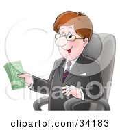 Clipart Illustration Of A Happy Caucasian Businessman In A Black Jacket Sitting In A Chair And Holding Money In His Hand by Alex Bannykh