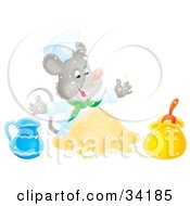 Clipart Illustration Of A Happy Mouse Chef Mixing Ingredients While Cooking