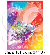 Clipart Illustration Of Three Aliens Flying Through A Sparkling And Colorful Galaxy In Space by Alex Bannykh